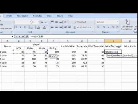 Penggunaan SUM, AVERAGE, MIN, MAX, dan IF pada Microsoft Excel 2007