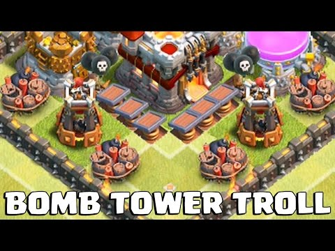 MAXED BOMB TOWER TROLL BASE | Clash of Clans | Gemming Maxed Bomb Towers!