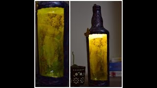 DIY bottle art|bottle decorating ideas|bottle craft|bottle decoration|reverse decoupage