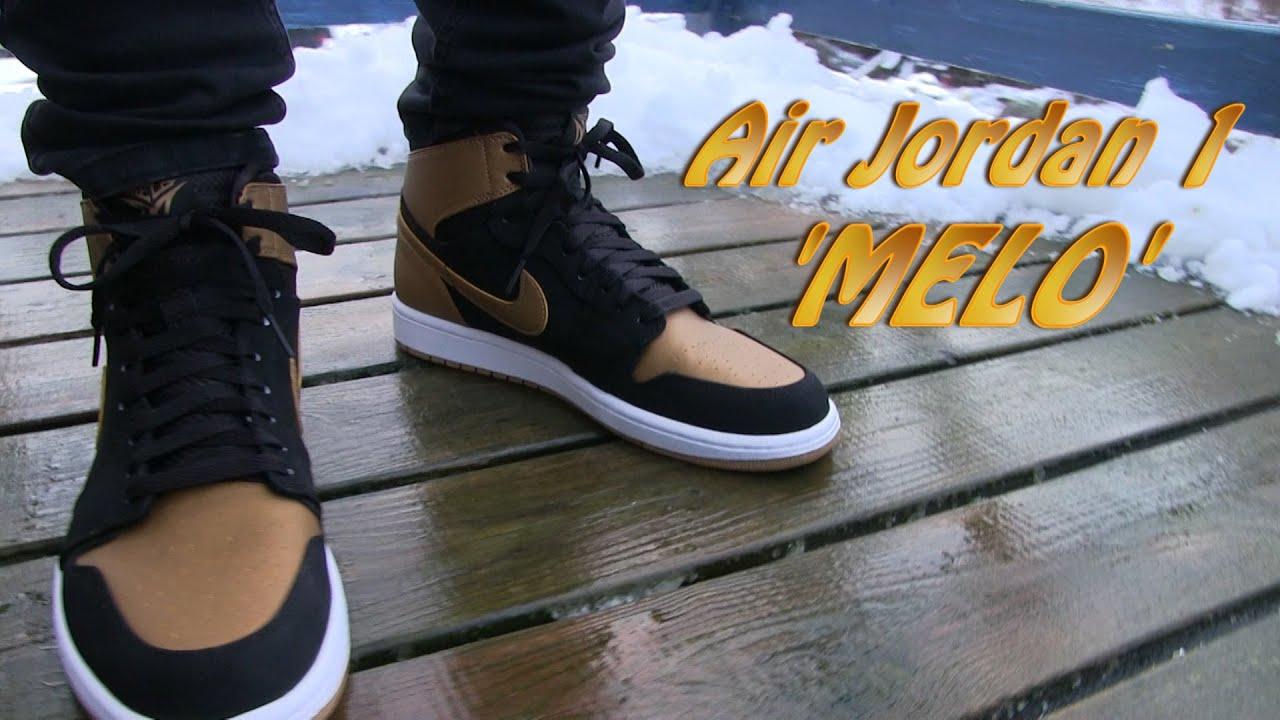 air jordan 1 retro high melo black gold on feet youtube rh youtube com