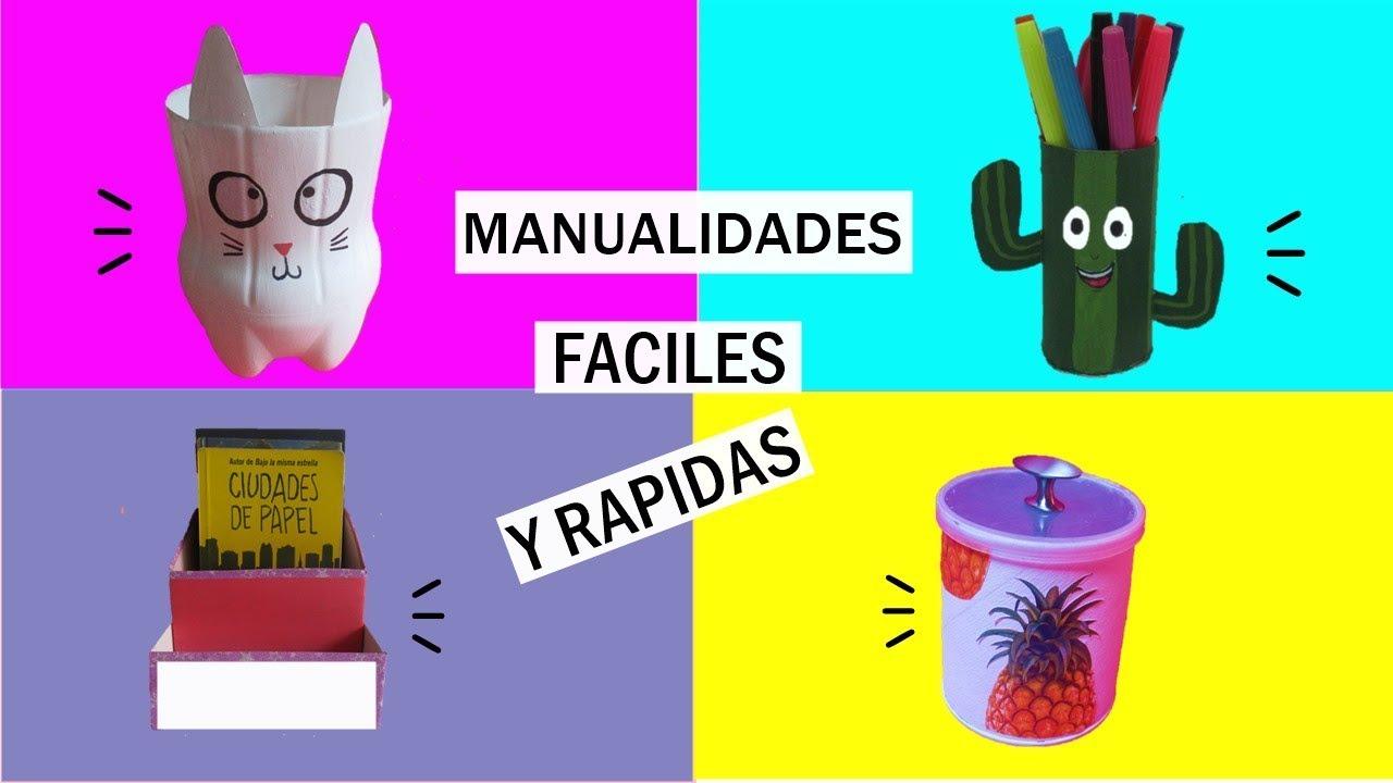 4 Manualidades Faciles Y Rapidas Reciclaje Youtube - Manualidades-rapidas