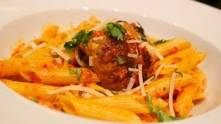 Roasted Red Pepper Penne and Meatballs