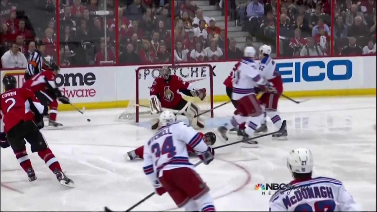 Kyle Turris Injury From Slapshot To Knee Ny Rangers Vs Ottawa Senators 4 23 12 Nhl Hockey Youtube