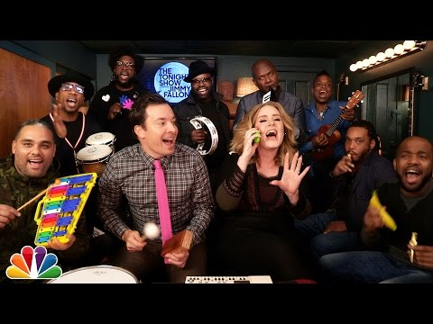 "Thumbnail: Jimmy Fallon, Adele & The Roots Sing ""Hello"" (w/Classroom Instruments)"