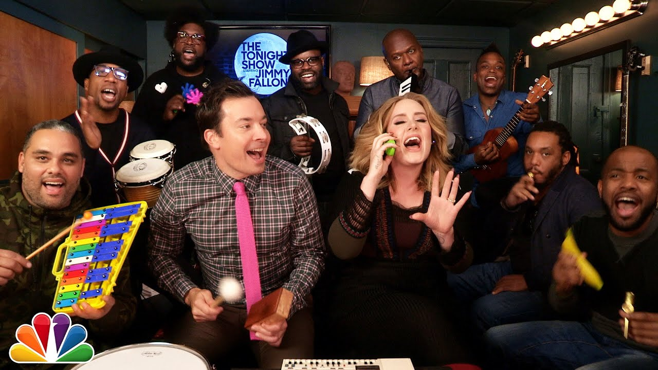 """Jimmy Fallon, Adele & The Roots Sing """"Hello"""" (w/Classroom Instruments)"""