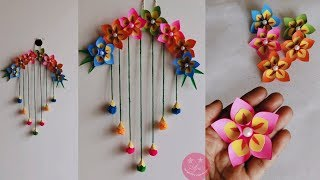 LOVELY MULTICOLOURED PAPER AND WOOLEN FLOWER WALL HANGING   PAPER CRAFT   BEST FROM WASTE