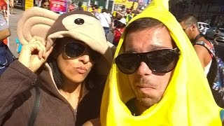 A monkey and banana walk around Hollywood blvd