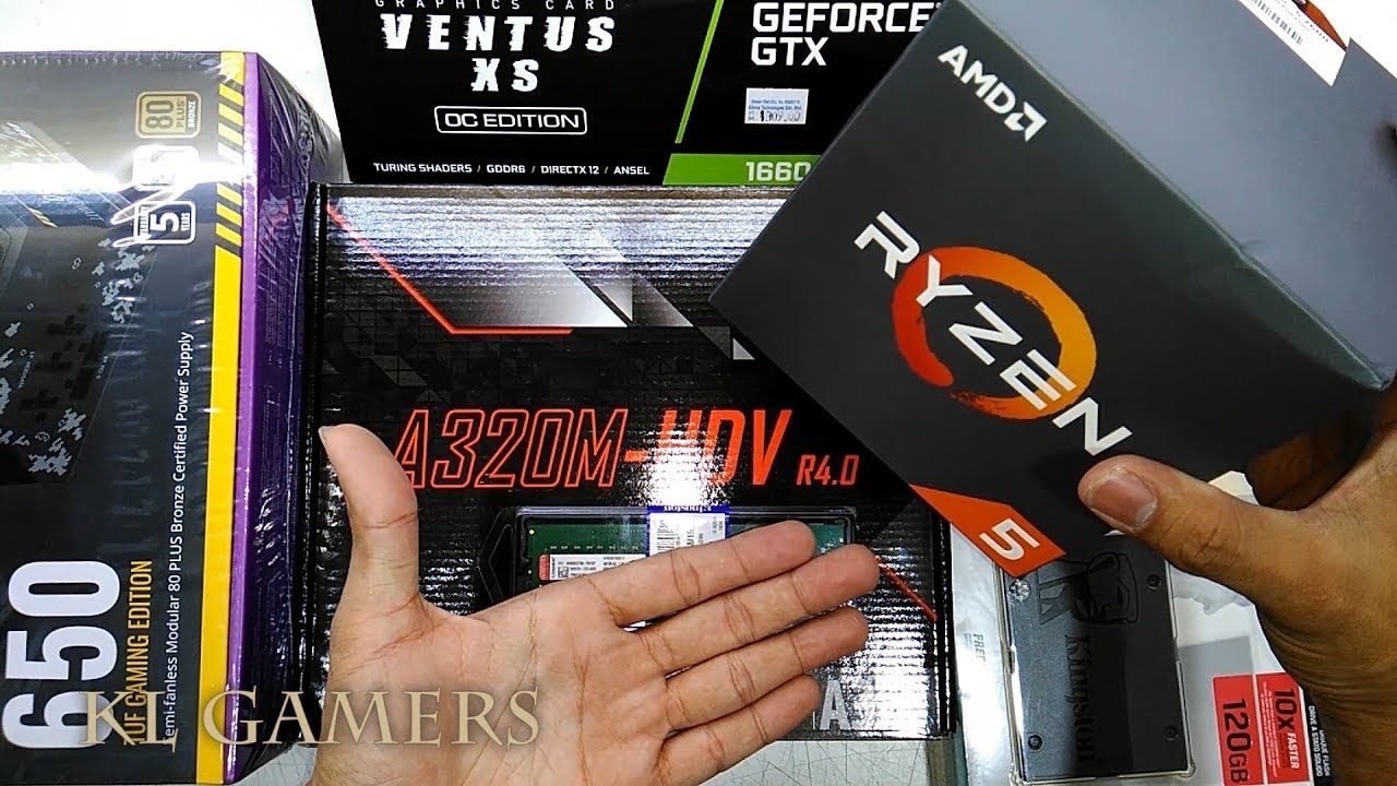 AMD Ryzen 5 2600 ASRock A320M-HDV R4 0 A400 SSD msi VENTUS XS OC GTX 1660Ti  650W TUF Gaming RIG 2019