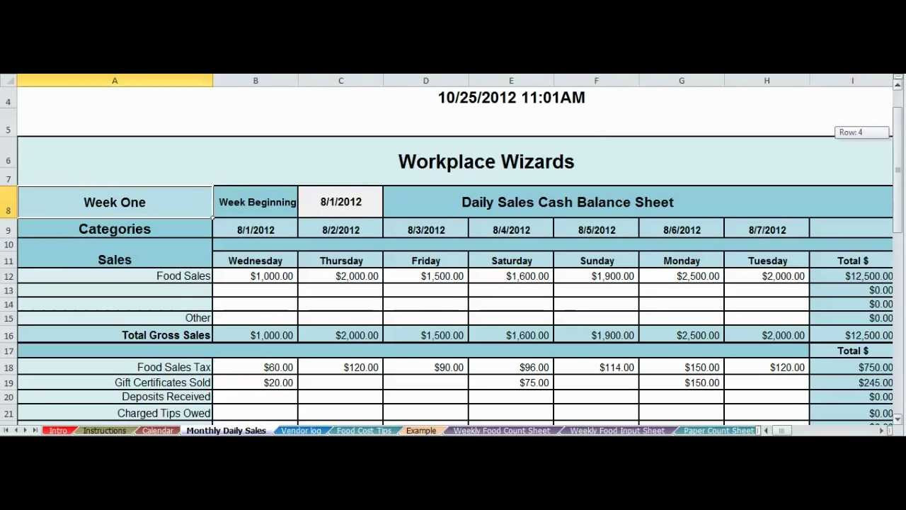 daily report format in excel