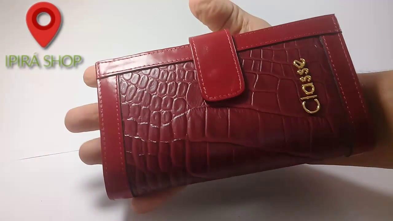b5567816d Carteira feminina mão e bolsa Classe Couro Ipirá Shop - YouTube