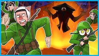 Call of Duty WWII Zombies Funny Moments! - Samurai Fire Man & Mortal Warfare Combat! (Not Clickbait)