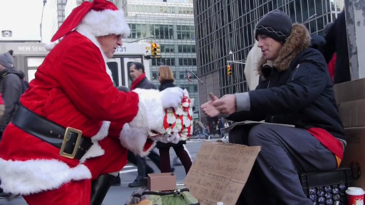 Homeless Christmas | Santa Gives Presents to Homeless People (Give ...