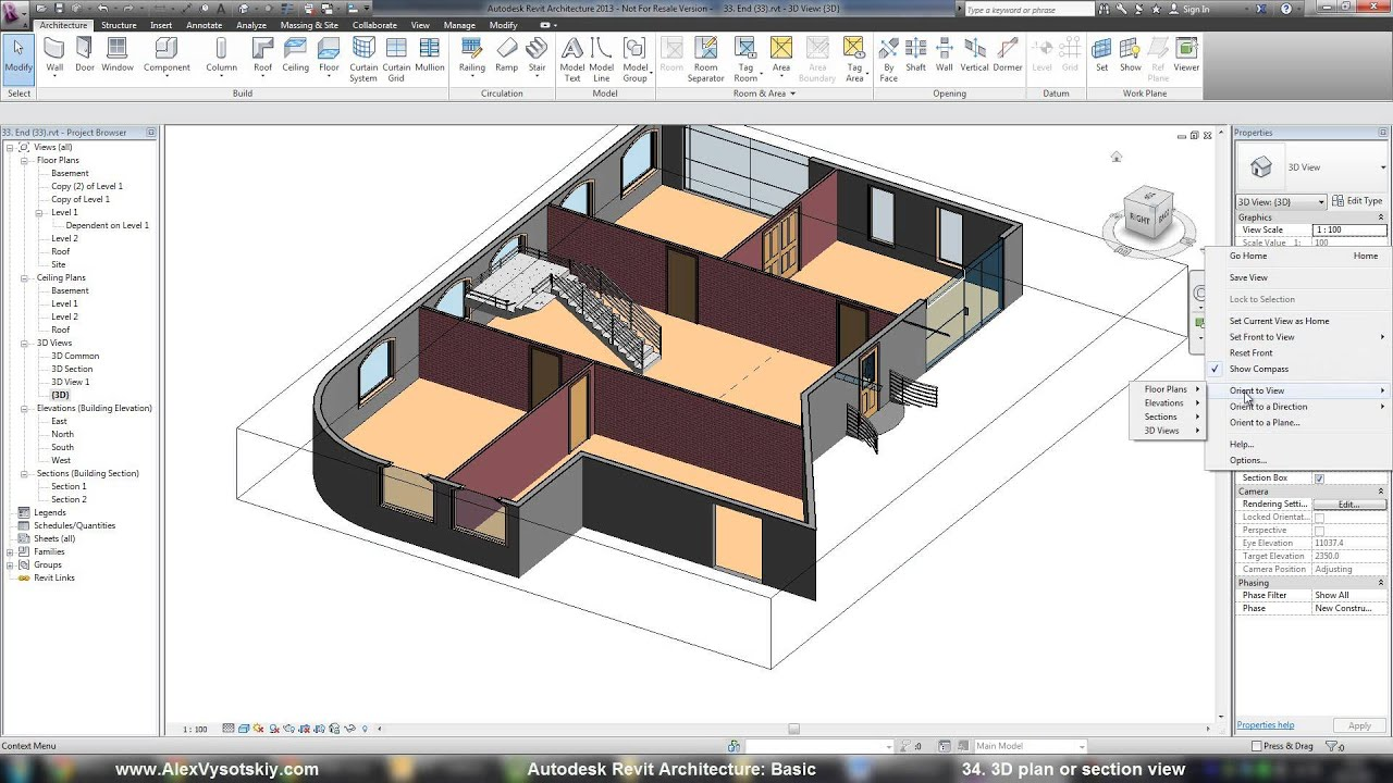 Autodesk revit architecture basic training 34 3d plan Plan my house