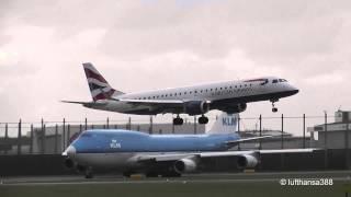 BA CityFlyer Embraer E190 Heavy Crosswind Landing at Amsterdam Schiphol Airport