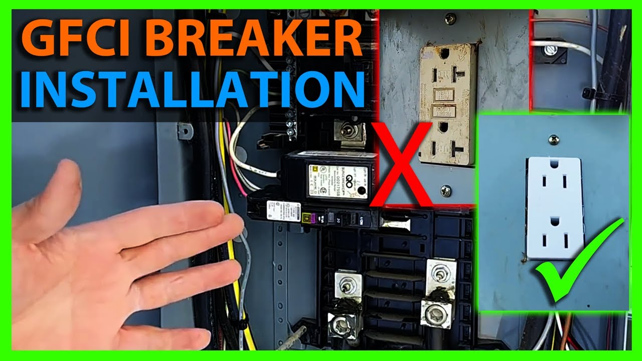 how to install a ground fault circuit breaker to replace a gfci outlet or receptacle [ 1280 x 720 Pixel ]