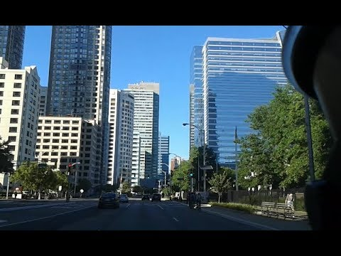 Driving in Downtown Jersey City, New Jersey, USA