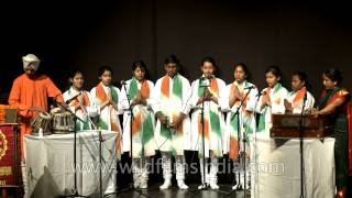 Indian students singing welcome song for the audience