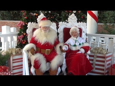 Santa and Mrs Claus Meet Guests at Epcot's Holidays Around The World, World Showcase, Disney