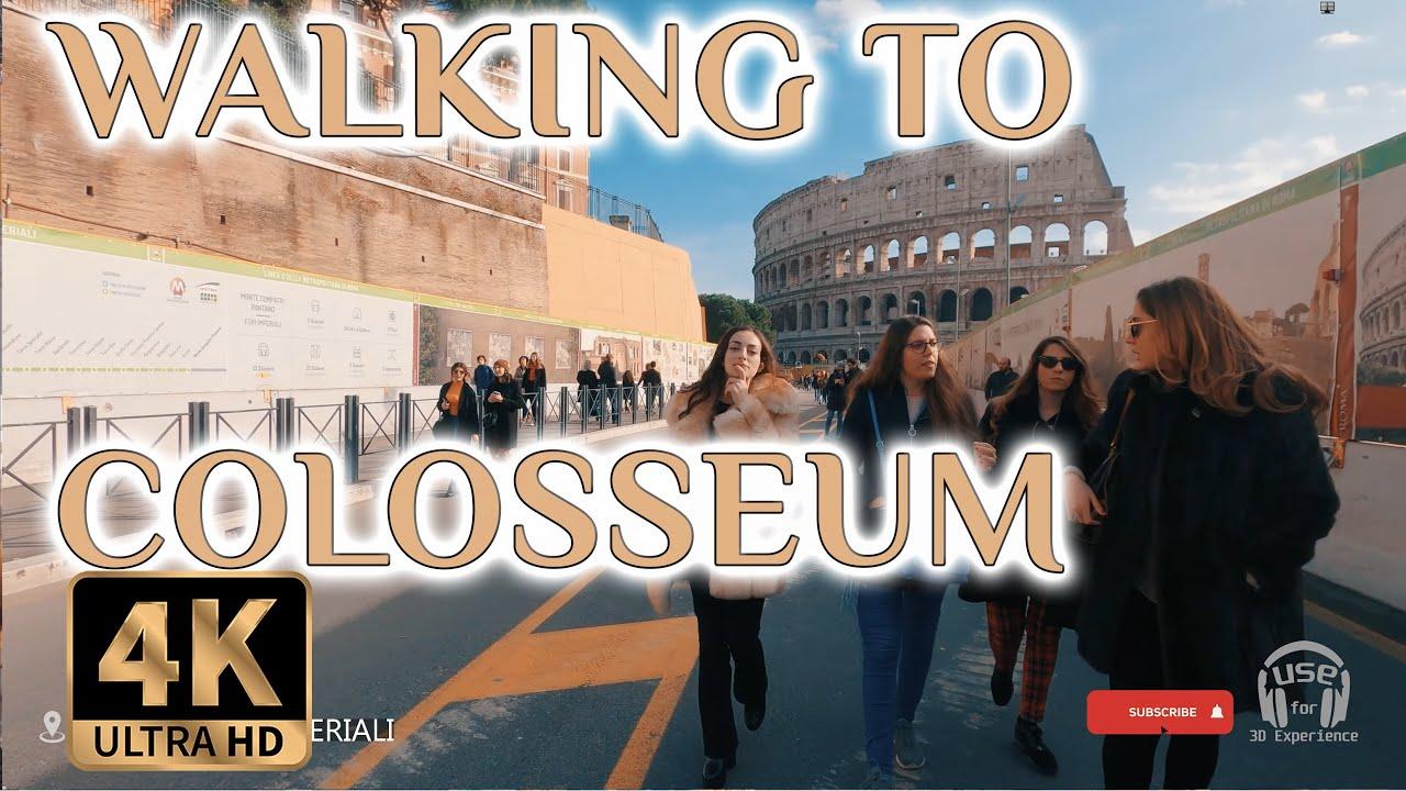 Walking Tour Italy Rome Colosseum 2019 (3D Binaural City Sounds) 4K