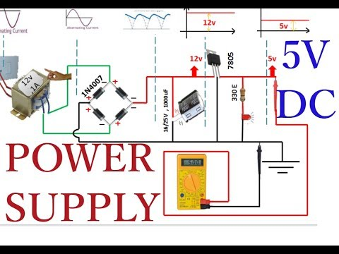 Transformer based Rectifier 5v dc    DC Power Supply     Rectifier Animation
