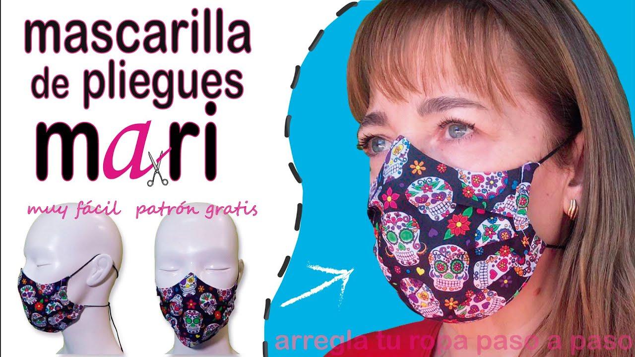 La MEJOR mascarilla de pliegues. #mascarillaMARI. Patrón gratis. DIY FaceMask/cubrebocas. Muy fácil.