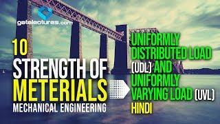 Strength of Materials 10 Uniformly Distributed Load (UDL) and Uniformly varying Load (UVL) - Hindi