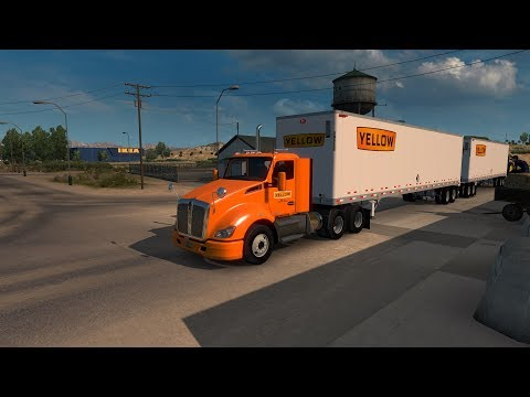 American Truck Simulator T-680 Yellow Freight 48' Doubles