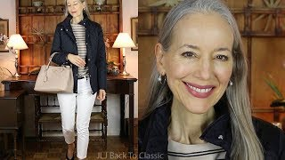 OOTD/Over 50: Cool Weather Black Quilted Jacket, White Skinny Jeans / Classic Fashion