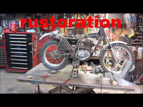 1975 honda 250 trials bike bent frame fix