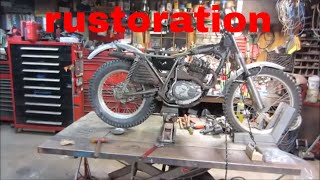 1975 honda 250 trials bike bent frame fix