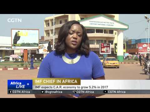 IMF director Christine Lagarde arrives in the Central African Republic