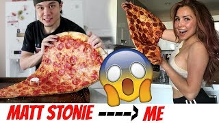 Matt Stonie vs Veronica Wang 1 MASSIVE SLICE OF PIZZA 먹방 MUKBANG VERSION!!