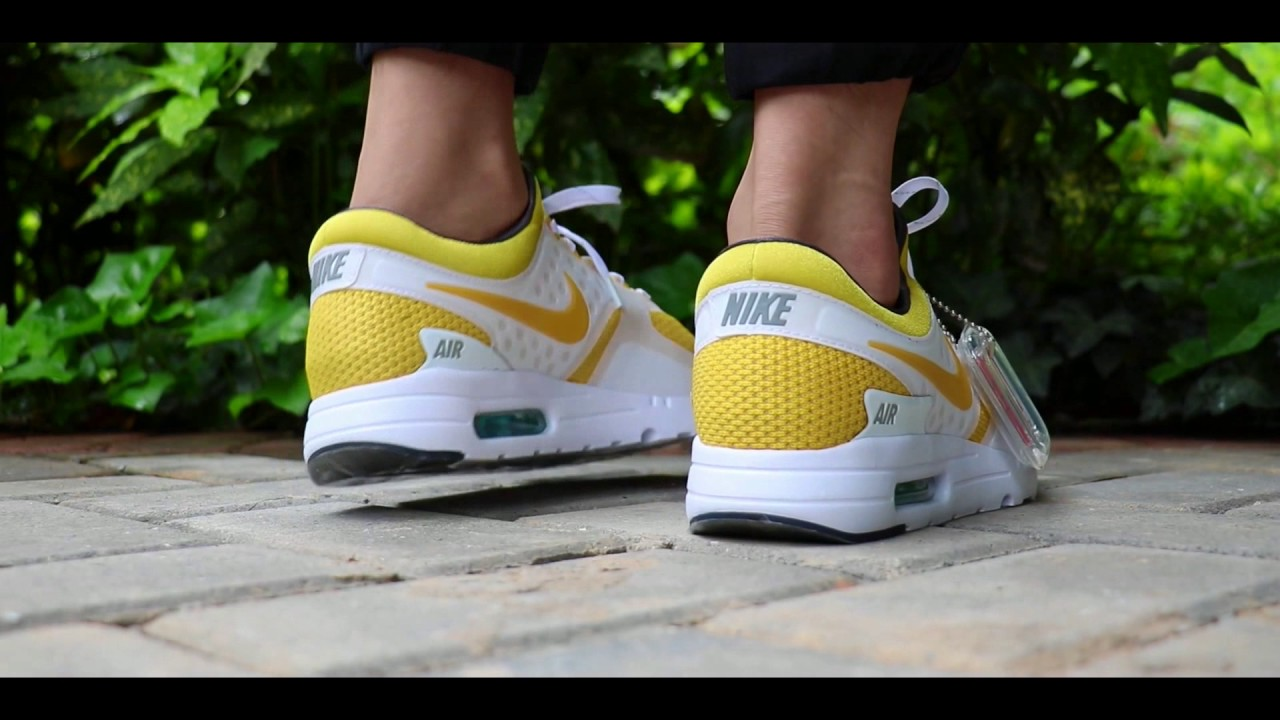 7b90e9b8d31 Discount Nike Air Max Zero White Yellow Men s Shoes On Feet Cheap for Sale!