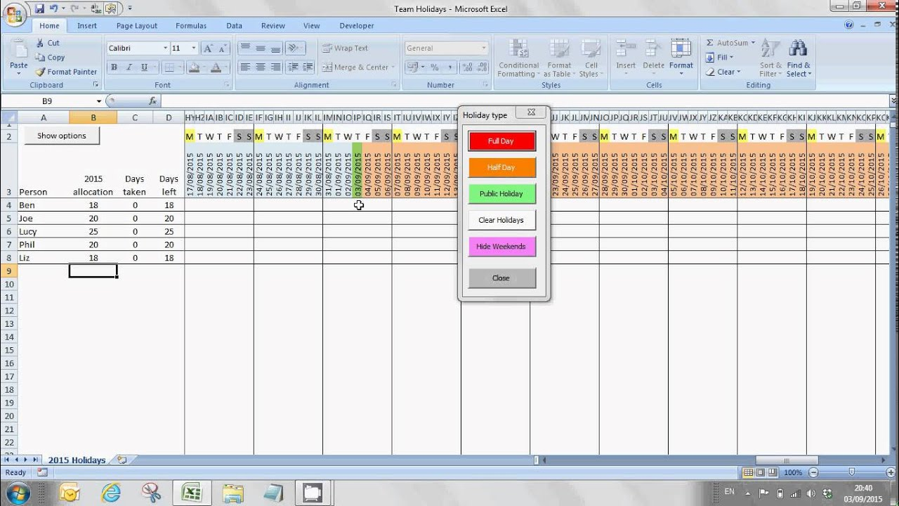 free excel staff annual leave planning tool