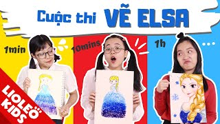 LỚP HỌC SIÊU QUẬY - Vẽ Elsa 1 phút Vs 10 phút Vs 1 tiếng: Chôm Chôm vẽ Elsa NHƯ THẬT?!