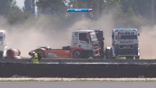 FIA European Truck Racing Championship 2018. Race 1 Automotodróm Slovakia Ring. Crashes | Tire Blow