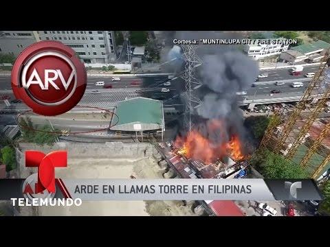Arde en llamas una torre de alta tensión en Filipinas | Al Rojo Vivo | Telemundo