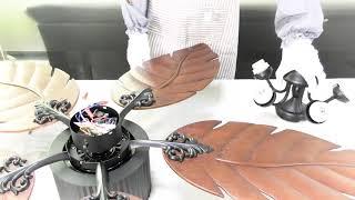 Arkonfire Tropical Ceiling Fan Wooden Blade Fan Remote Control