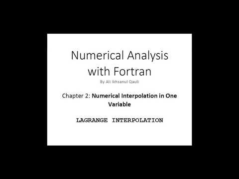 Numerical Analysis with Fortran: Lagrange Interpolation