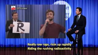 daniel radcliffe singing rapping alphabet aerobics lyrics on screen