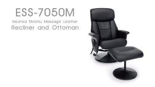 OFM Essentials Shiatsu Massage Leather Recliner & Ottoman Model ESS-7050M