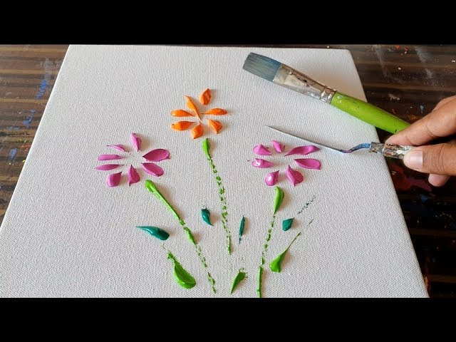 How To Paint Floral Abstract Painting Demonstration Satisfying Daily Art Therapy Day 036