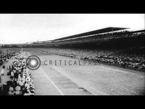 Indianapolis 500 held in Indianapolis, Indiana.  Pat Flaherty wins. HD Stock Footage