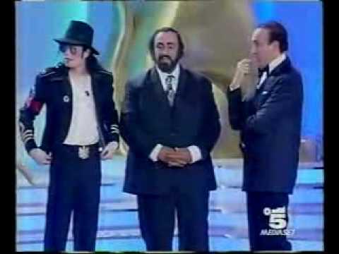 Michael Jackson and Pavarotti on stage