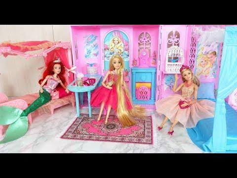 Barbie Rapunzel Ariel Princess Bedroom Morning routine