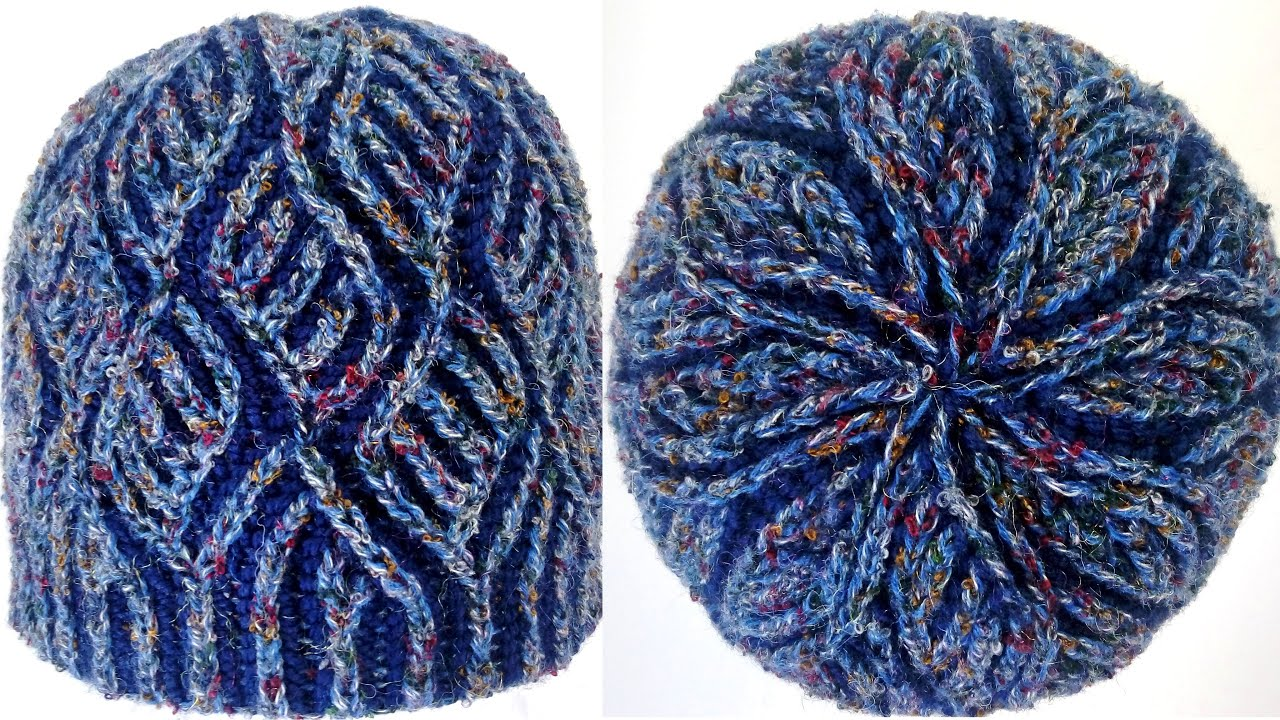Two Color Double Knitting In The Round : Diamonds hat two color brioche stitch knitting pattern