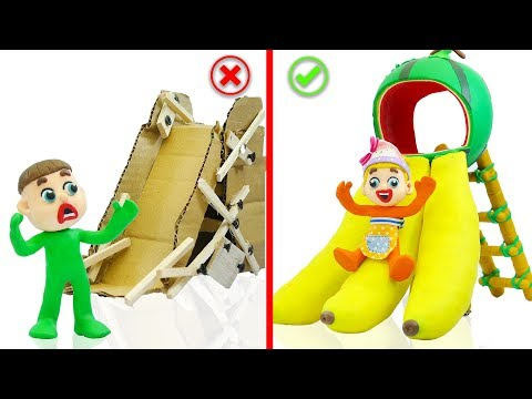 SUPERHERO BABY PLAYS COLORS FRUIT SLIDE 馃挅 Stop Motion Cartoons Animation