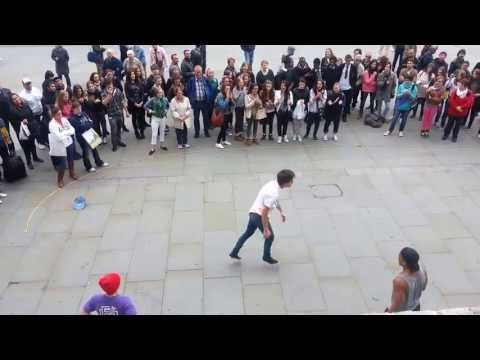 Street show (Break dance) outside London's National Gallery at Trafalgar Sq