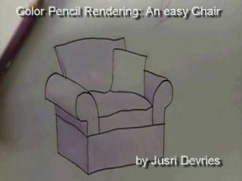 Color Pencil Rendering Of An Easy Chair