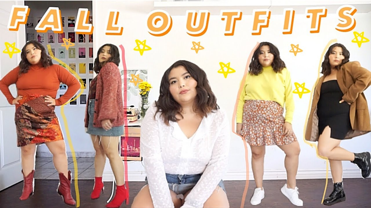 """[VIDEO] - ?10 FALL OUTFIT IDEAS for """"WARM"""" WEATHER.? """"Plus-size"""" 4"""